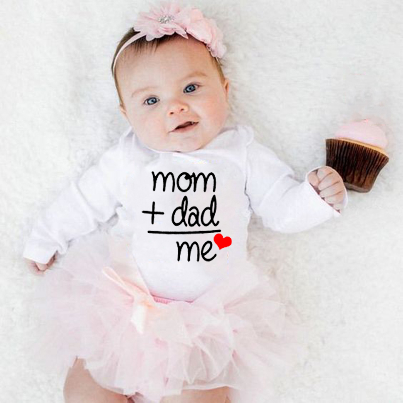Mom Plus Dad Equals Me <font><b>Newborn</b></font> <font><b>Baby</b></font> Long <font><b>sleeve</b></font> Clothes Boy Girl Kids <font><b>Cotton</b></font> <font><b>Bodysuit</b></font> Infant Funny Jumpsuit Outfits image