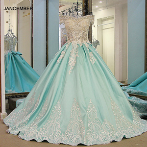 Image 1 - LS21700 New ball gown evening dresses lace up back back short sleeves lace formal evening gowns dresses light green real photos