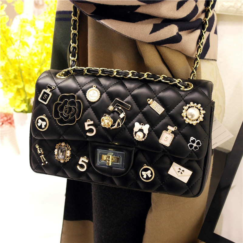 Women Heavy Style PU Leather Handbag Meatal Element Studded Chain Strap Crossbody Shoulder Bag Fashion Clutch Purse Lady Girl
