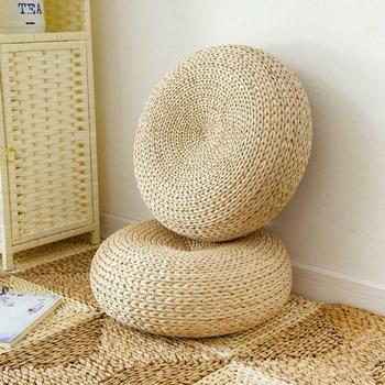 1 Pcs Natural Straw Round Pouf Tatami Cushion Floor Cushions Meditation Yoga Round Mat Chair Cushion Japanese-style Cushion