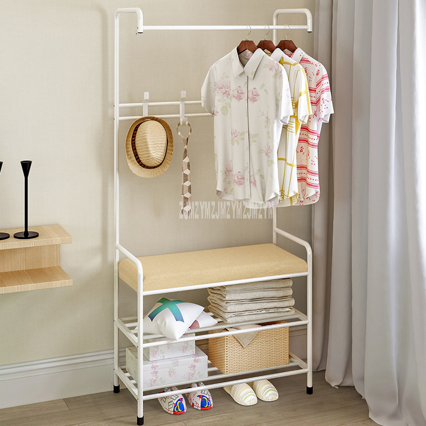 Floor Cloth Shelf Coat Hat Rack Floor Standing Hanger Anti-rust Metal Iron Clothing Hanging Storage Shelf Organizer 64x30x172cm