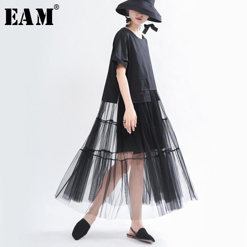 [EAM] Women Black Hem Mesh Split Big Size Dress New Round Neck Short Sleeve Loose Fit Fashion Tide Spring Summer 2020 1T980