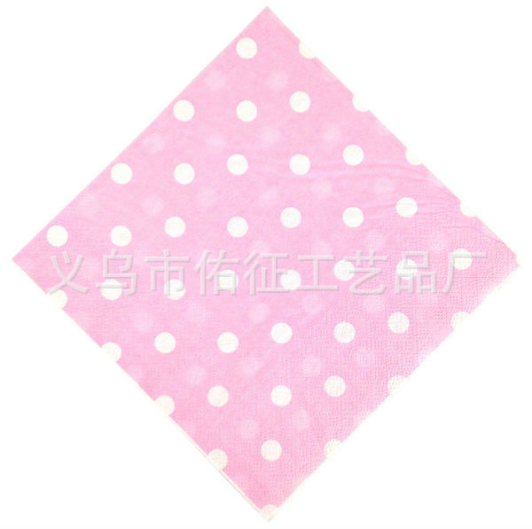 Color Printing Paper Towel Napkin Wedding Party Paper Towel Pink Dots Polka Dot Napkin Tissue Paper