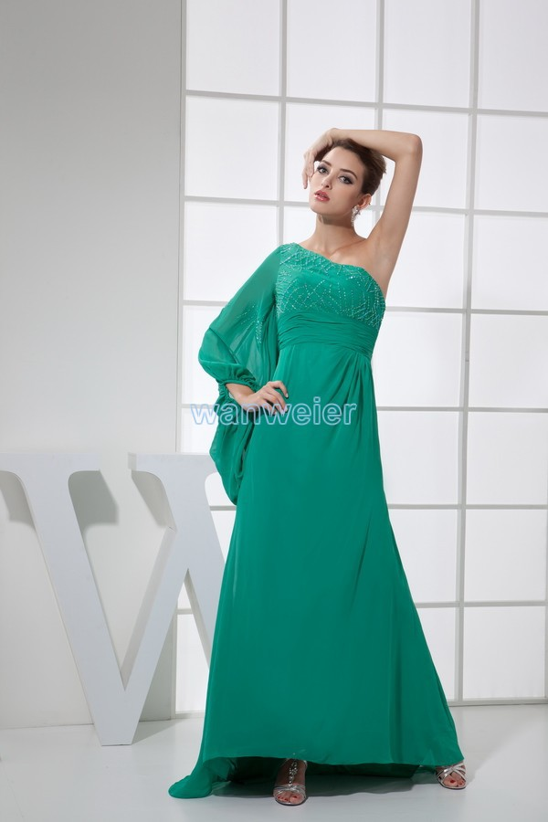 One Shoulder Long Sleeve New Vestido Formal Muslim Custom Made Beading Chiffon Sexy Women Celebrity Mother Of The Bride Dresses