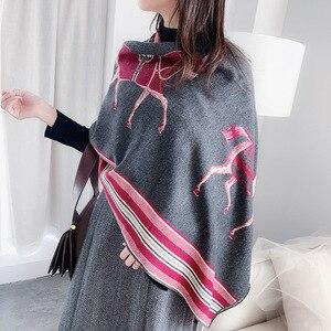 Image 4 - 冬のスカーフの女性デザインショール暖かい女性パシュミナカシミアスカーフショールスカーフ厚い毛布馬動物ラップバンダナ 2020 新