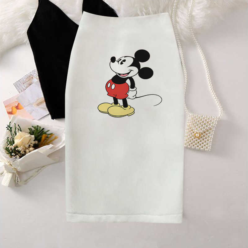 2019 Women Pencil skirt New Cartoon mouse Print natural Slim Skirts Young Girl Summer Large Size Japan Female Falda modis