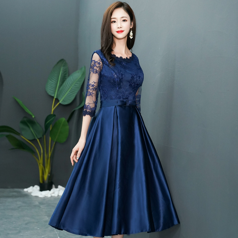 Navy Late Formal Dress Women's 2019 Summer And Autumn New Style Mid-length Banquet Dress Slimming Lace Long Sleeve Formal Dress