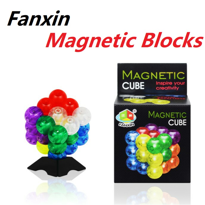 Newest Fanxin DIY 3x3 Magic Magnetic Blocks Puzzle 3x3x3 Brain Test Cubo Magico Toys For Kids Educational