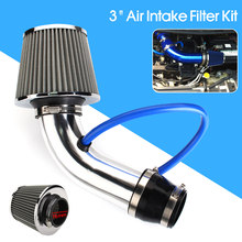 "Hot Nieuwe 3 ""Universele Auto Cold Air Intake Filter Aluminium Inductie Kit Pijp Slang Systeem Zilverkleurige Auto Air Intake filter(China)"