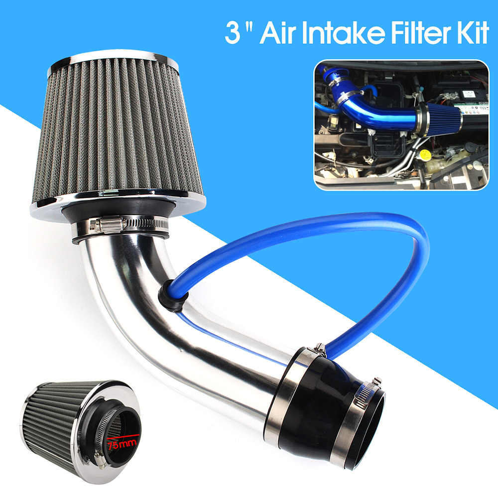 "Hot Nieuwe 3 ""Universele Auto Cold Air Intake Filter Aluminium Inductie Kit Pijp Slang Systeem Zilverkleurige Auto Air Intake filter"