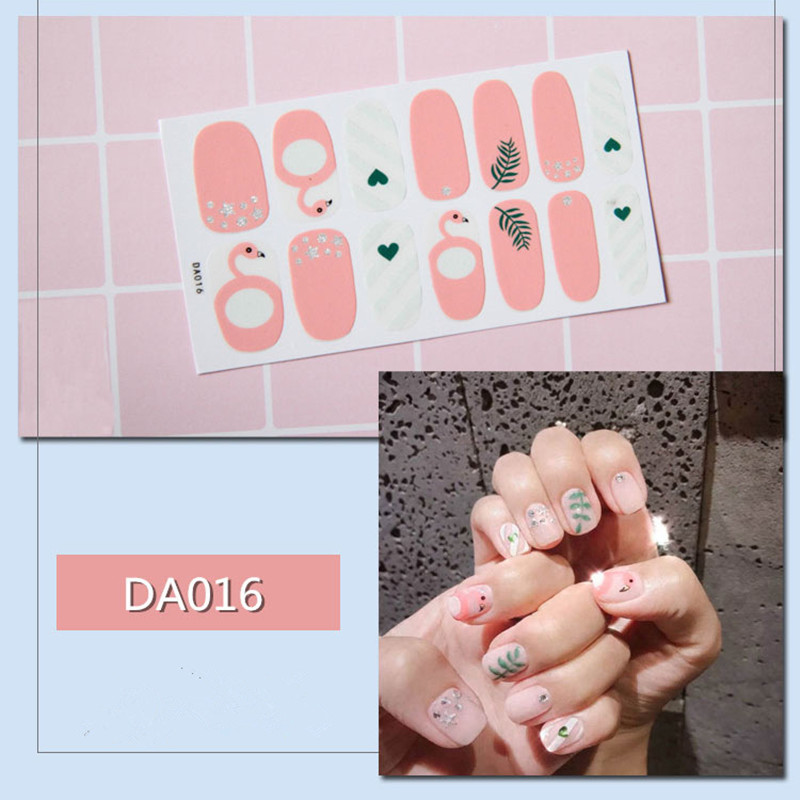ALI shop ...  ... 32909512053 ... 4 ... 14tips/sheet Full Cover Nail Stickers Wraps DIY Nail Art Decals Plain Stickers Self Adhesive Nail Stickers Flamingo Valentine ...