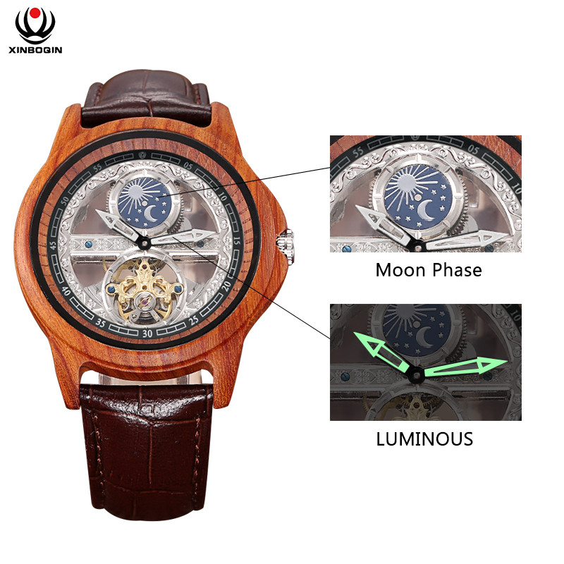 Image 3 - Creative Transparent Men Mechanical Self Winding Watches  Automatic Tourbillon Watch Real Leather Waterproof Montre Moon  PhaseSports Watches