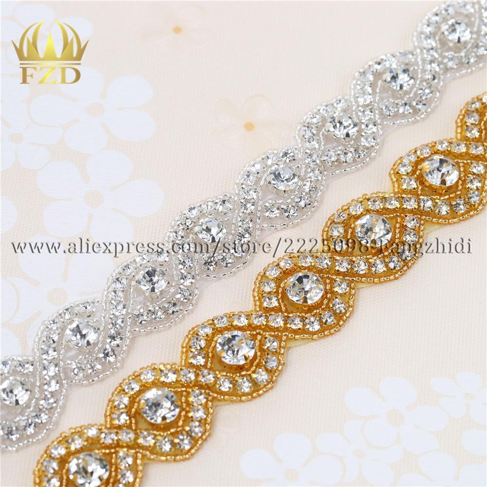 1 Yd DIY Rhinestone Trim Crystal Silver Beaded Applique Sew//Iron on Bridal Sash