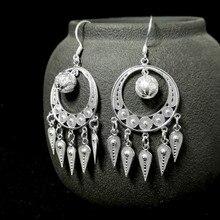 Bohemian 999 Sterling Silver Hoop Earrings For Women Tassel Drop Earing Vintage Handmade Luxury Jewelry Boho aretes de mujer цена