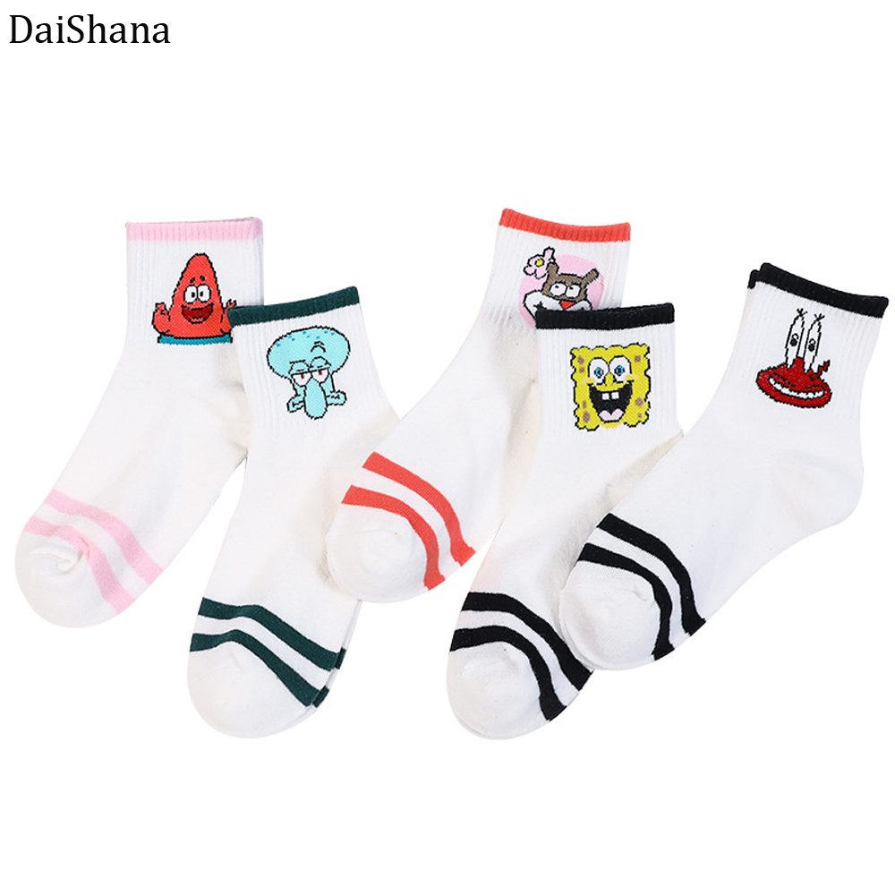 2019 Cartoon Character Funny Customized Cartoon Women Socks Harajuku Funny Skateboard Cute Patterned Fashion Female Cotton Sox.