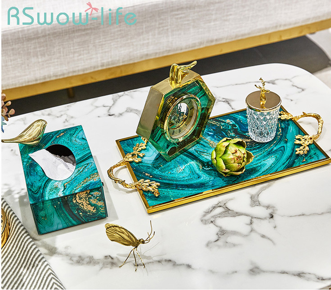 High-end Green Agate Tray Storage Tank Set Living Room Home Storage Decorative Ornaments Service Tray For Decorative Items