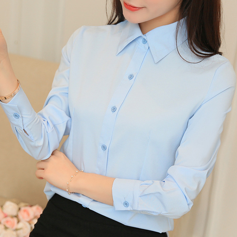 BIBOYAMALL Blouses Women Women Tops Long Sleeve Casual Chiffon Blouse Female Work Wear White/Pink Office Shirts Plus Size 5XL