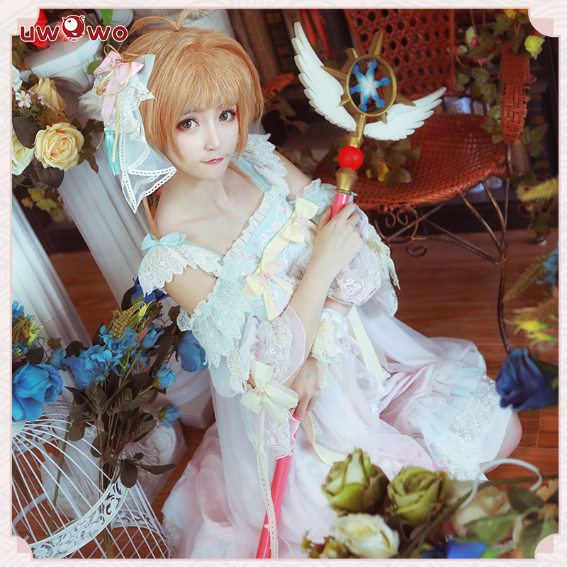 UWOWO Anime Sakura Card Captor Cosplay Kinomoto Sakura Doujin Dress Costume Women Halloween Cosplay Girls Kawaii Lolita Costume