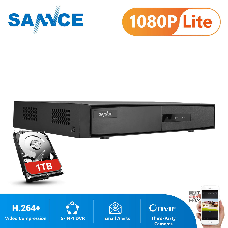 SANNCE-caméra DVR 1080N | 4 canaux 5 en 1, vidéosurveillance de sécurité DVR 4CH, prise en charge de DVR hybride HDMI, AHD TVI CVI CVBS, caméra IP, protocole Onvif