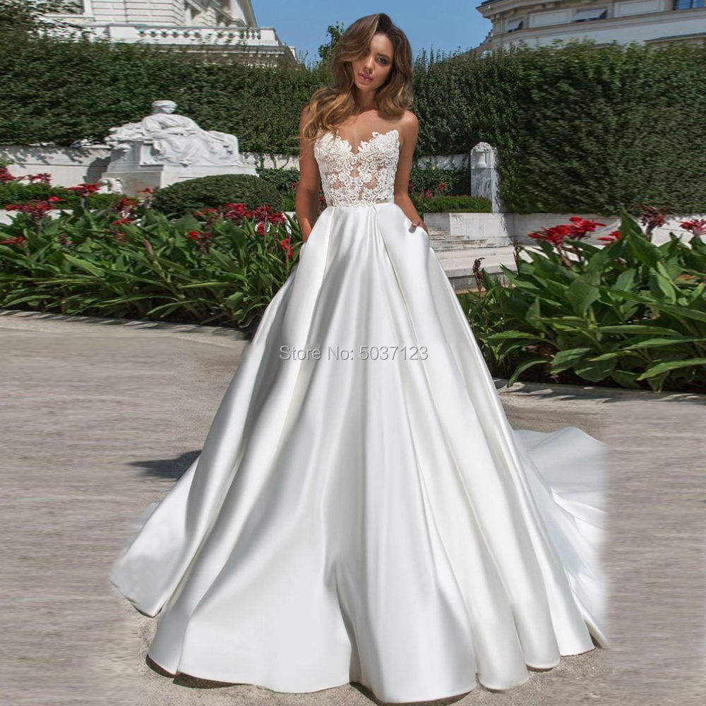 Satin A Line Wedding Dresses Vestido De Novias Scoop Sleeveless Appliques Open Back Boho Bridal Gown For Bride Marriage Longo