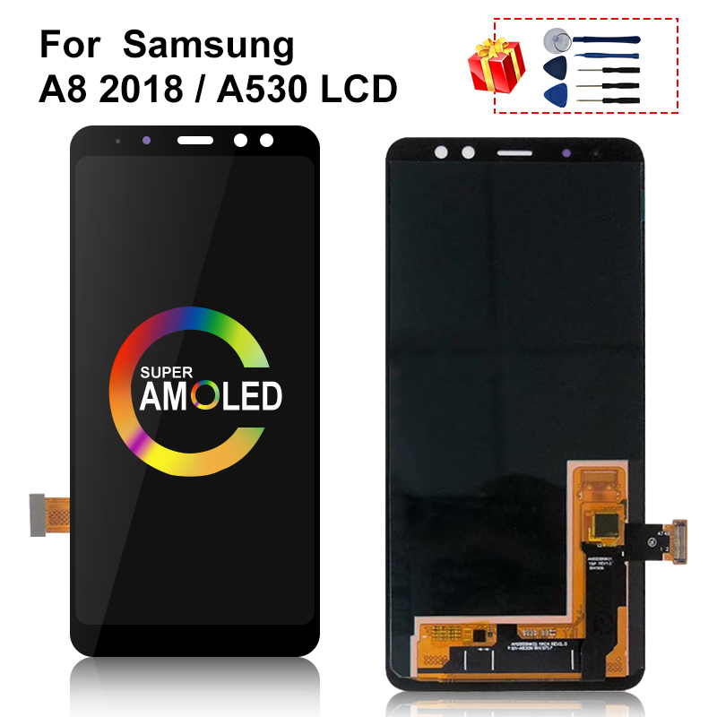 AMOLED For Samsung Galaxy <font><b>A8</b></font> <font><b>2018</b></font> A530 LCD <font><b>Display</b></font> Touch Screen Digitizer Assembly A530f A530N Screen Replacement Parts image