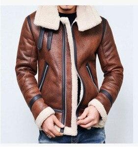 Image 1 - Warm Winter Motorcycle Faux Leather Jacket Mens PU Leather Jackets Fashion Street Style Masculina Mens Leather Coats Plus Size