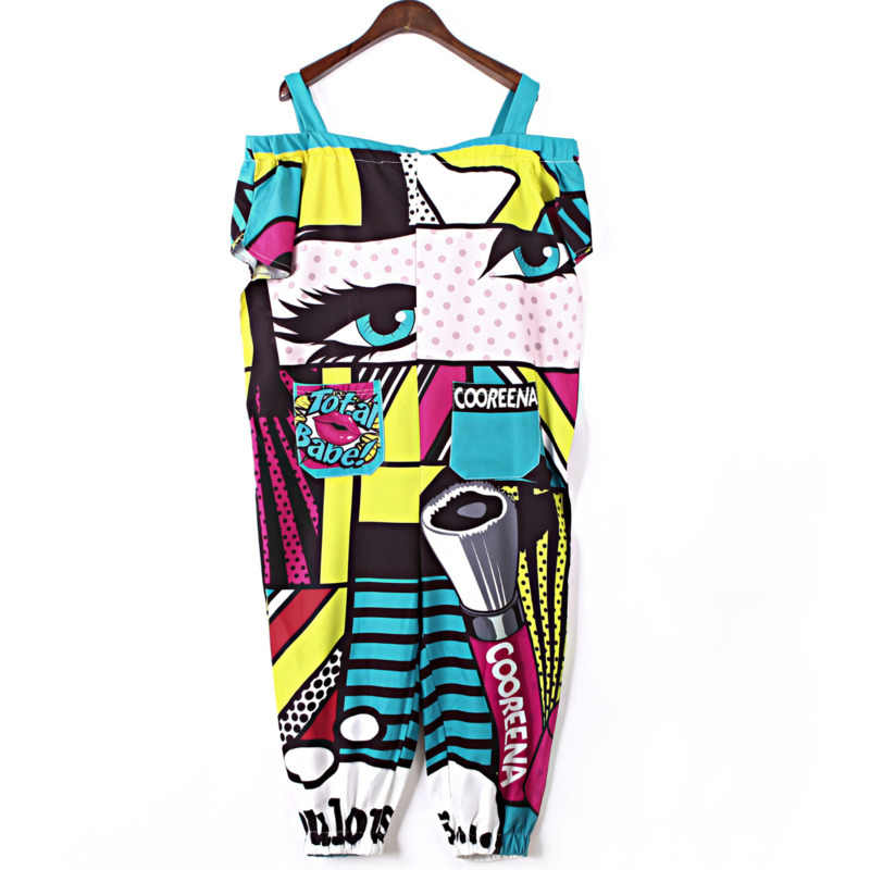 Vefadisa Drop-Shoulder Romers Women Cartoon Print Jumpsuits Green Casual Playsuit Hip-Hop Romper Calf-Length Pants ZLD811