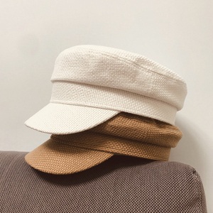 Image 2 - Summer 2020 Japan Net Red Same Hemp Like Breathable Fabric Flat Top Small Military Cap Couple Cap Fashion Cloth Cap Women Hats
