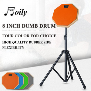 Image 2 - 8 Inch Rubber Wooden Dumb Drum for Beginner Practice Training Drum Pad Stand and drumstick for Percussion Instruments Parts