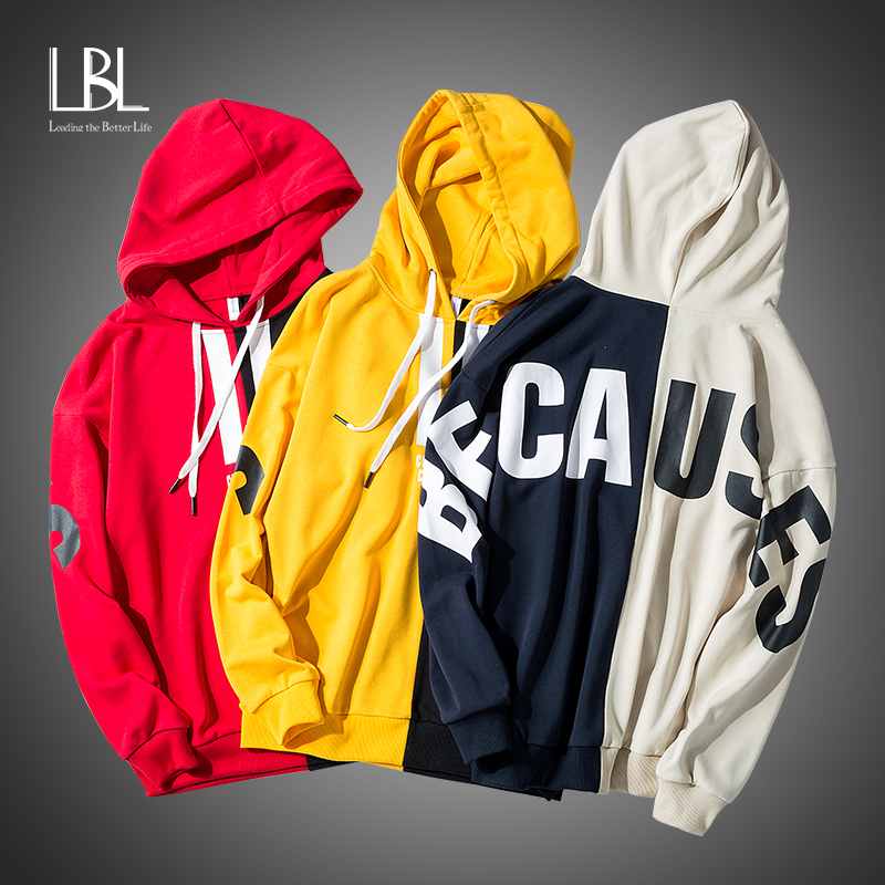 Letter Printing hoodies Men 2020 Fashion Fleece Sweatshirts Hooded Man Hip Hop Hoodies High Quality Men's Patchwork Sweatshirts