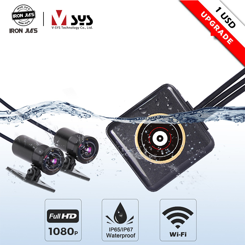 SYS VSYS P6F P6LFull Body Waterproof Motorcycle Camera Recorder WiFi Dual 1080P Full HD Motorcycle DVR Dash Cam Black GPS Box