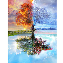 5D DIY Diamond Painting Tree Full Drill Diamond Embroidery Landscape Mosaic Home Decoration Gift momoart diamond embroidery tree diamond mosaic landscape diy diamond painting full drill square rhinestone wall decoration