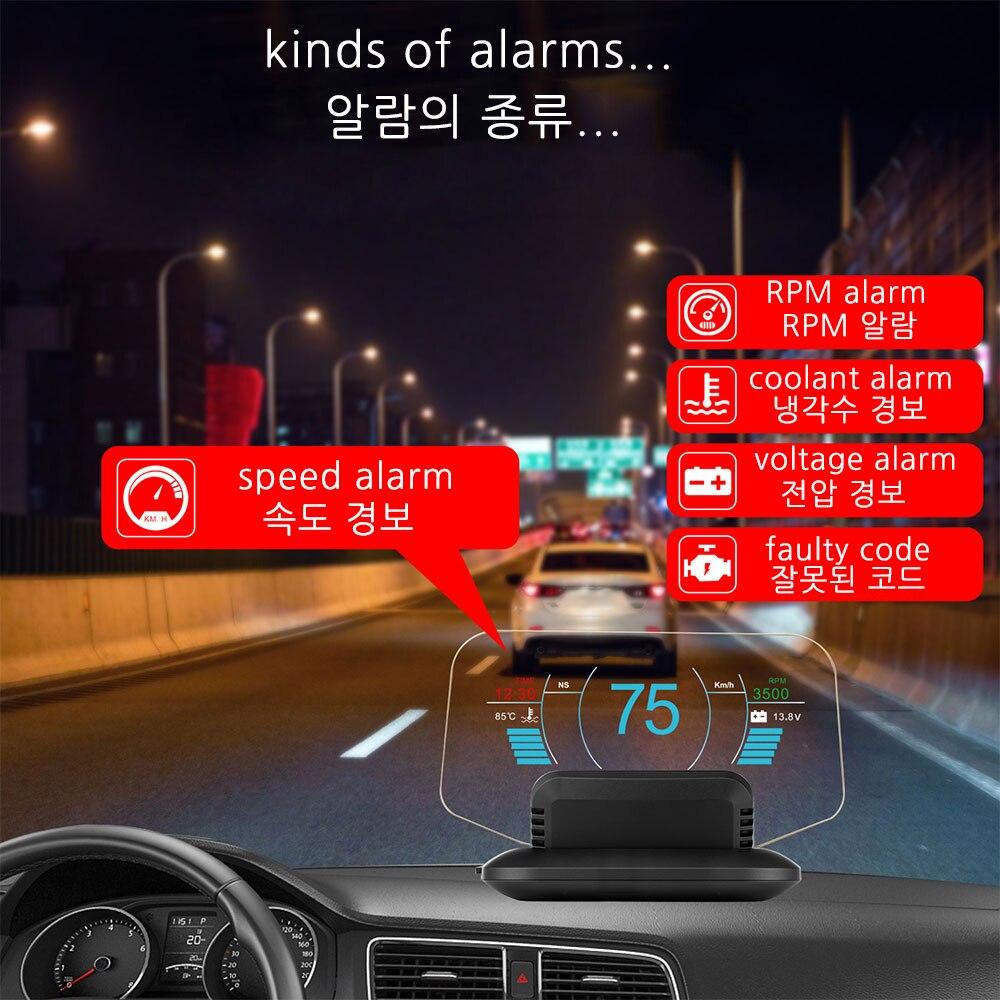 Vjoycar C1 Mirror HUD 2020 New OBD2+GPS Dual Mode OBD2 Head Up Display GPS HUD Digital MPH KMH Speedometer Water & Oil Temp RPM 3