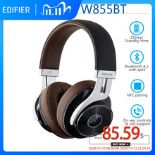 EDIFIER W855BT Wireless Bluetooth Headphone HD Stereo Music Wireless Headset BT V4.1 with Mic 3.5mm AUX Cable NFC Pairing