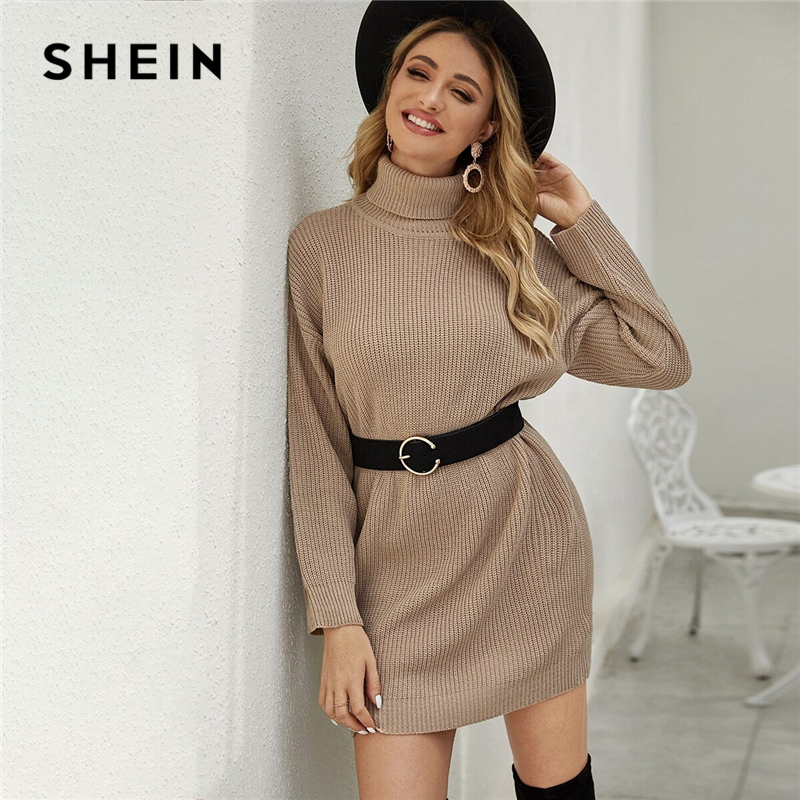 SHEIN Khaki Drop Shoulder Turtleneck Sweater Dress Without Belt Women Winter Short Straight Casual Loose Dresses 1