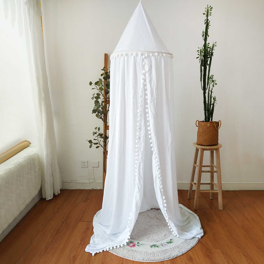 Hot! Cotton Baby Room Decoration Balls Mosquito Net Kids Bed Curtain Canopy Round Crib Netting Tent Photography Props Baldachin