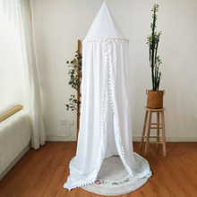 Hot! Cotton Baby Room Decoration Balls Mosquito Net Kids Bed Curtain Canopy Round Crib Netting Tent Photography Props Baldachin(China)