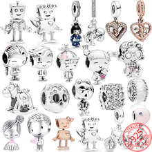 Beaded-Pendant-Gift Charm Braceles Robot Pandora Moment 925-Sterling-Silver Flexible