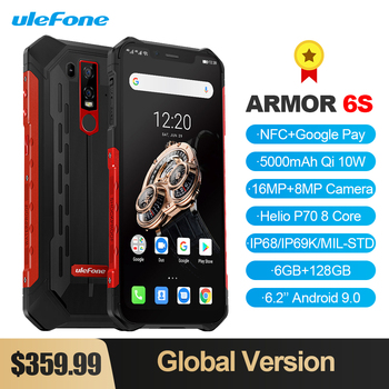 "Ulefone Armor 6S IP68/IP69K Rugged Phone Helio P70 Octa-core 6.2"" FHDAndroid 9.0 6GB+128GB NFC Face ID Global Version Smartphone"