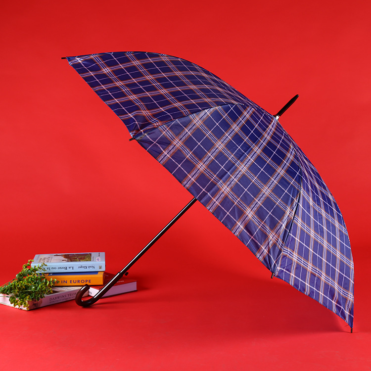 Manufacturers Wholesale Classic-Style Business Plaid Stripes Straight Pole Long Handle Hook All-Weather Umbrella Stall 9 Yuan Sh
