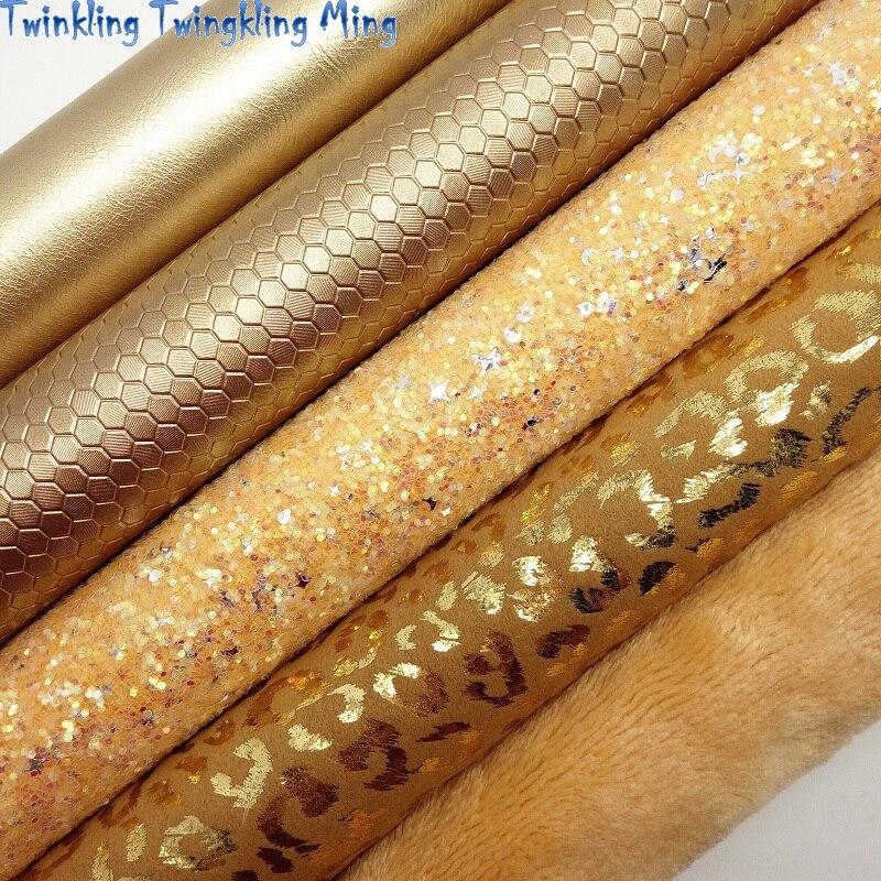 Ткань с золотыми блестками, ткань из искусственной кожи с леопардовым принтом, простыни из синтетической кожи для банта A4 8x11 дюймов, мерцание Ming XM461