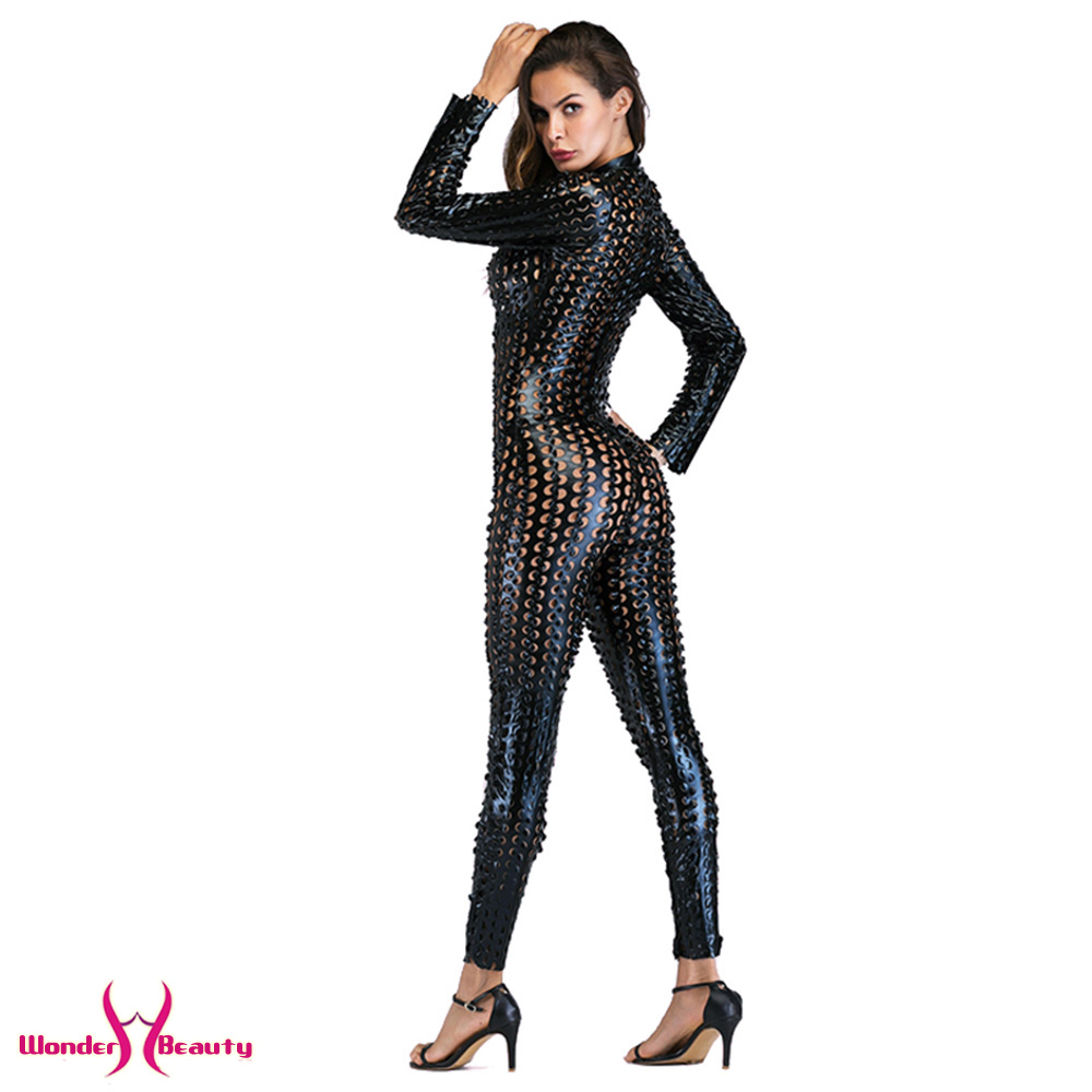 faux leather catsuit catwomen shiny black gold silver metallic leather jumpsuit wetlook pu leotard bodysuit bar night clubwear (38)