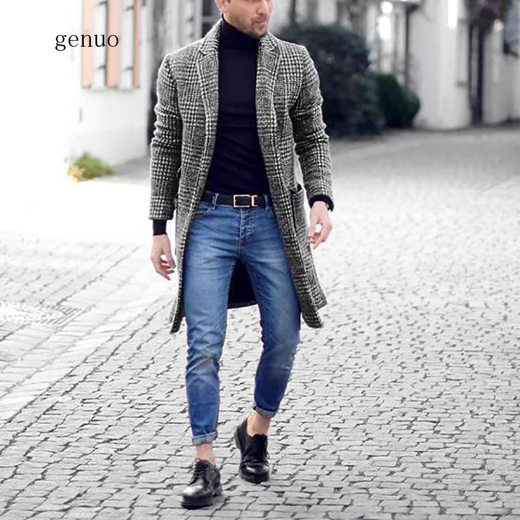 2020 New Fashion Long Coat Men's Brand Clothes Winter Houndstooth Gentlemen Long Coat Men Jacket Coat Top