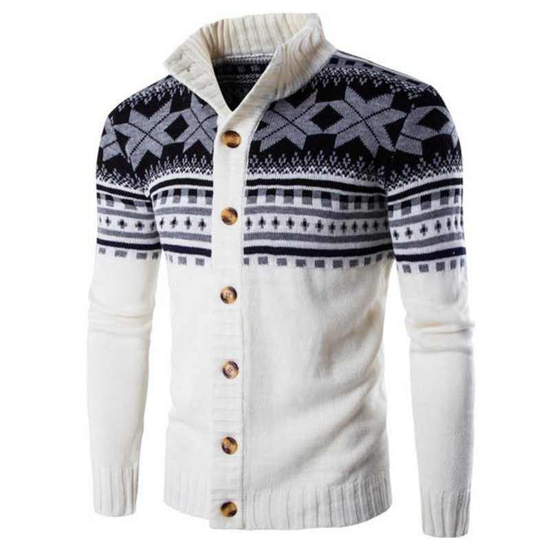 Winter Fashion Mens Sweater Cardigan Printed Warm Vintage Long Sleeve Streetwear Button Knitted Sweaters Men Christmas Pullovers