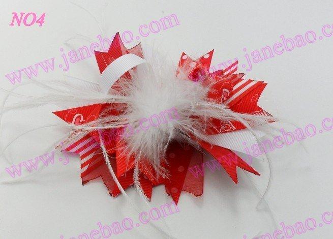 250 шт, 4,5 дюймов, бант для волос из перьев, модный бутик для девочек, банты для волос с животным принтом, банты из ленты