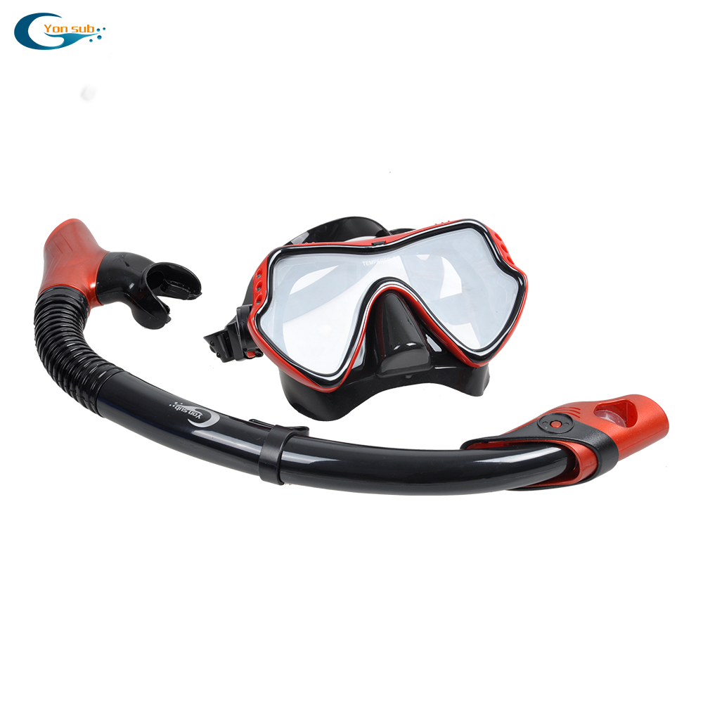 Free Shipping Silicone Diving Mask, Dry Snorkel For Scuba Dive Set Equipment/Black