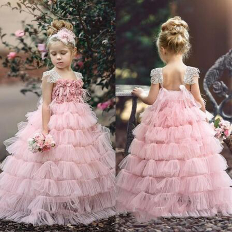Pink Appliques Lace Feathers Tiered A-line   Flower     Girl     Dresses   Cute Sleeveless Square Collar Neck Communion Gown sukienki