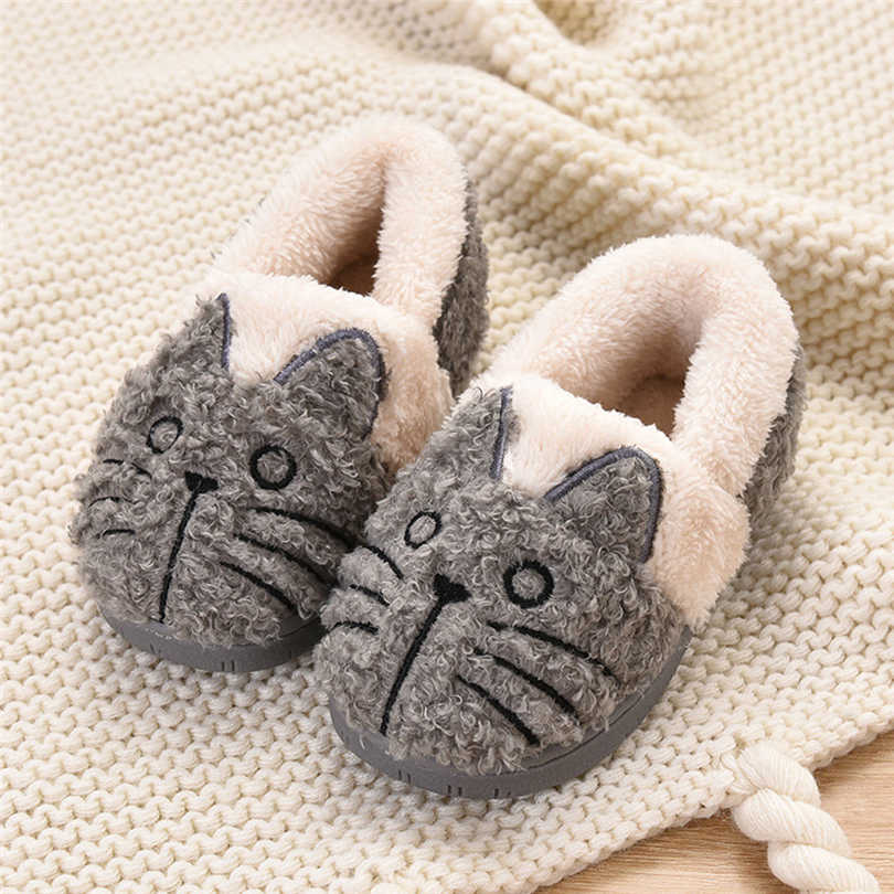 Toddler Kids Winter Home Slippers Girl Boys Cartoon Cat Fluffy Warm Indoor Soft-Sole Floor Shoes Child House Slipper 18M-12T A50