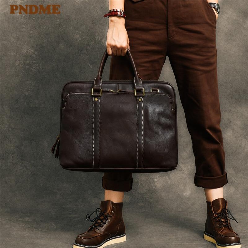 PNDME Vintage High Quality Genuine Leather Men's Briefcase Fashion Business Real Cowhide Large Capacity Laptop Tote Shoulder Bag