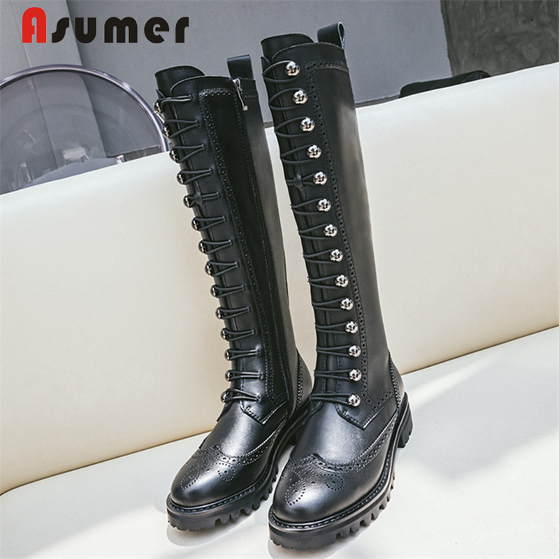 ASUMER Women Shoes Heel Riding-Boots Zipper Botas Ladies New Knee Square